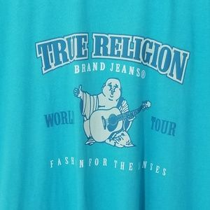 True Religion Mens T-Shirt Blue XXL Graphic Tee